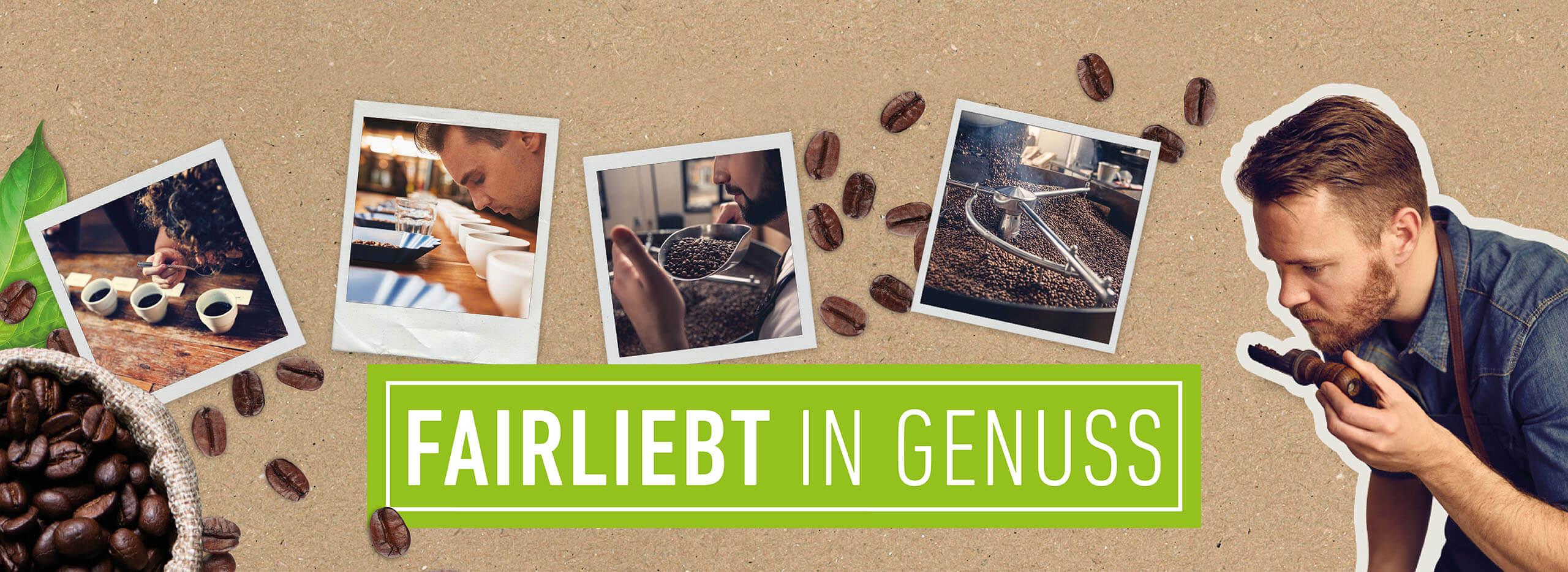 Bilder einer Kaffeeröstung; ein junger Mann riecht an frisch gemahlenen Kaffeebohnen