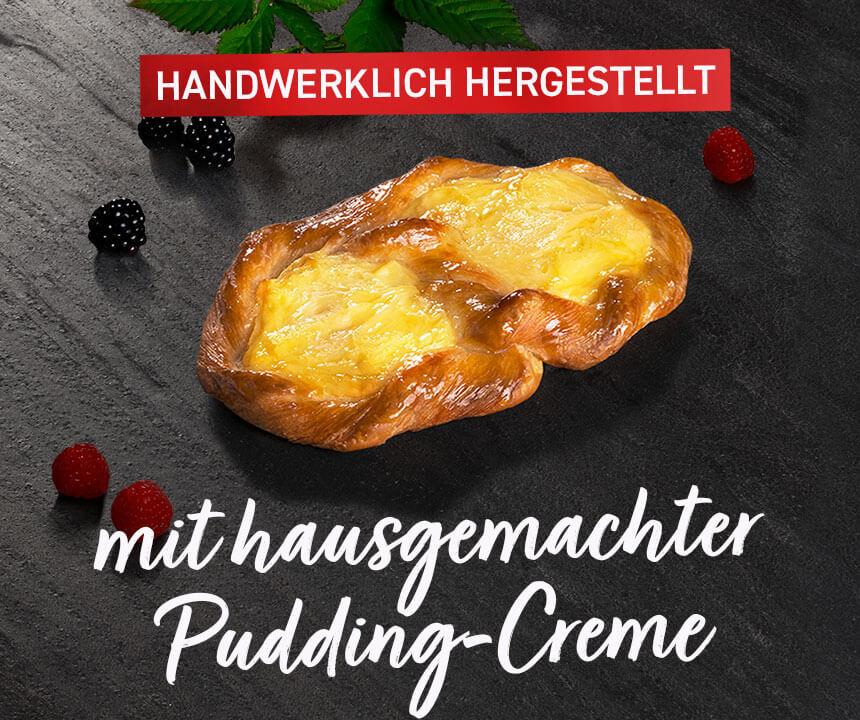 Puddingbrezel - Handwerklich hergestellt, mit hausgemachter Pudding-Creme